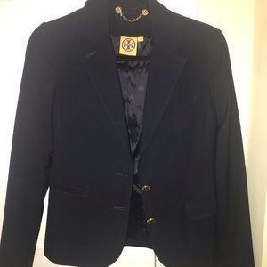 Tory Burch Navy Wool Blazer Gold Buttons - Size 2